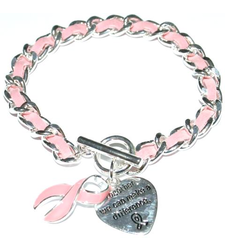Breast Cancer Awareness pink ribbon f suede HEART charm bracelet