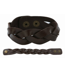 BROWN Leather plait twist wristband strap