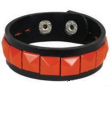 ORANGE single row pyramid stud studded wristband strap