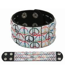RAINBOW PEACE SIGNS pyramid stud studded wristband strap