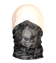 Neck Tube Snood Scarf Grey Skulls