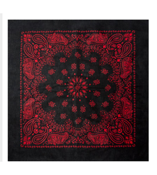 BLACK and RED round western paisley bandana scarf