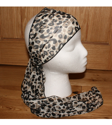 Black White Leopard Pattern Sheer Scarf