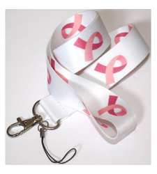 Pink Ribbon Breast Cancer Awareness LANYARD White