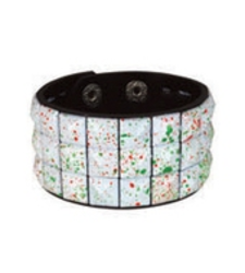 WHITE neon PAINT SPATTERED pyramid stud studded wristband strap