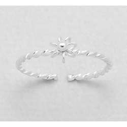 925 Sterling Silver Ring for Toe Midi Pinkie Twisted Flower Boxe
