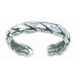 925 Sterling Silver Toe Ring Raised Rope Twist
