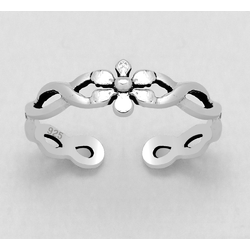 925 Sterling Silver Ring for Toe Midi Pinkie Single Flower