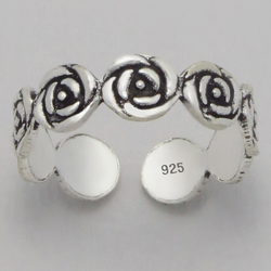 925 Sterling Silver Ring for Toe Midi Pinkie Rose Flowers