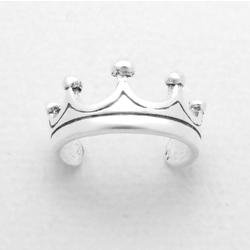 925 Sterling Silver Ring for Toe Midi Pinkie Crown