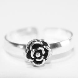 925 Sterling Silver Ring for Toe Midi Pinkie Single Rose