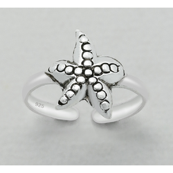 925 Sterling Silver Ring for Toe Midi Pinkie Starfish Boxed