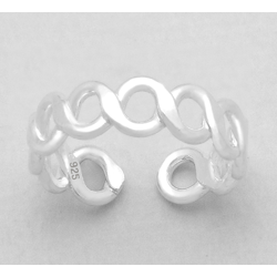 925 Sterling Silver Ring for Toe Midi Pinkie Infinity Loop