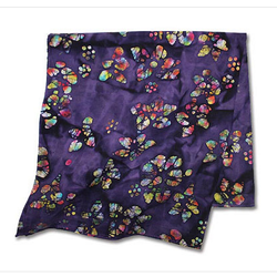 Purple Cotton Batik Pattern Bandana Scarf