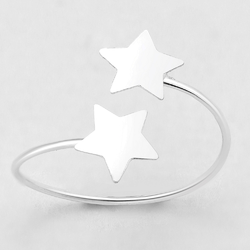 925 Sterling Silver Ring for Toe Midi Pinkie Floating Stars Boxe