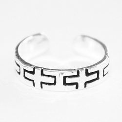 925 Sterling Silver Ring for Toe Midi Pinkie Black Crosses