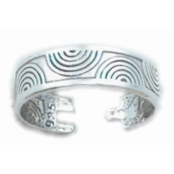 925 Sterling Silver Toe Ring Curved Waves