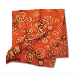 Orange Cotton Batik Pattern Bandana Scarf