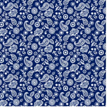 Blue White allover Paisley Cotton Bandana Scarf