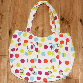 White Multicoloured Polkadot Canvas Beach Bag