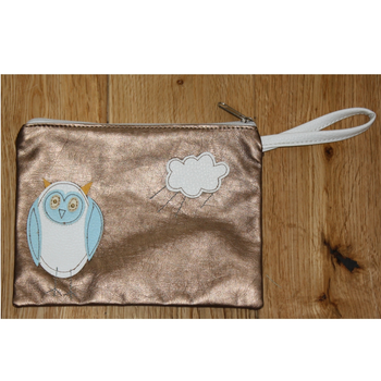 Gold Owl Purse Wrist Bag for Evening or Makeup